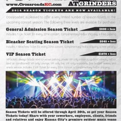 CrossroadsKC at Grinders Season Tickets are available! Buy them now and save money on epic concerts all season!
