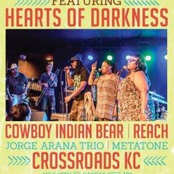 CrossroadsKC at Grinders begins a season of epic concerts with the Spring Fling this Saturday, May 3rd with Hearts of Darkness, Cowboy Indian Bear, Reach, Jorge Arana Trio and Metatone!