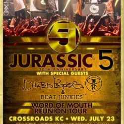 Jurassic 5 is coming to CrossroadsKC at Grinder's Tomorrow night! See experienced MC's and DJ's on their reunion tour live!
